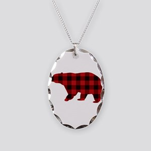 lumberjack buffalo plaid Bear Necklace Oval Charm